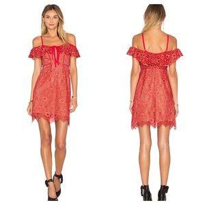 For Love & Lemons Rosemary Mini Dress in Cherry